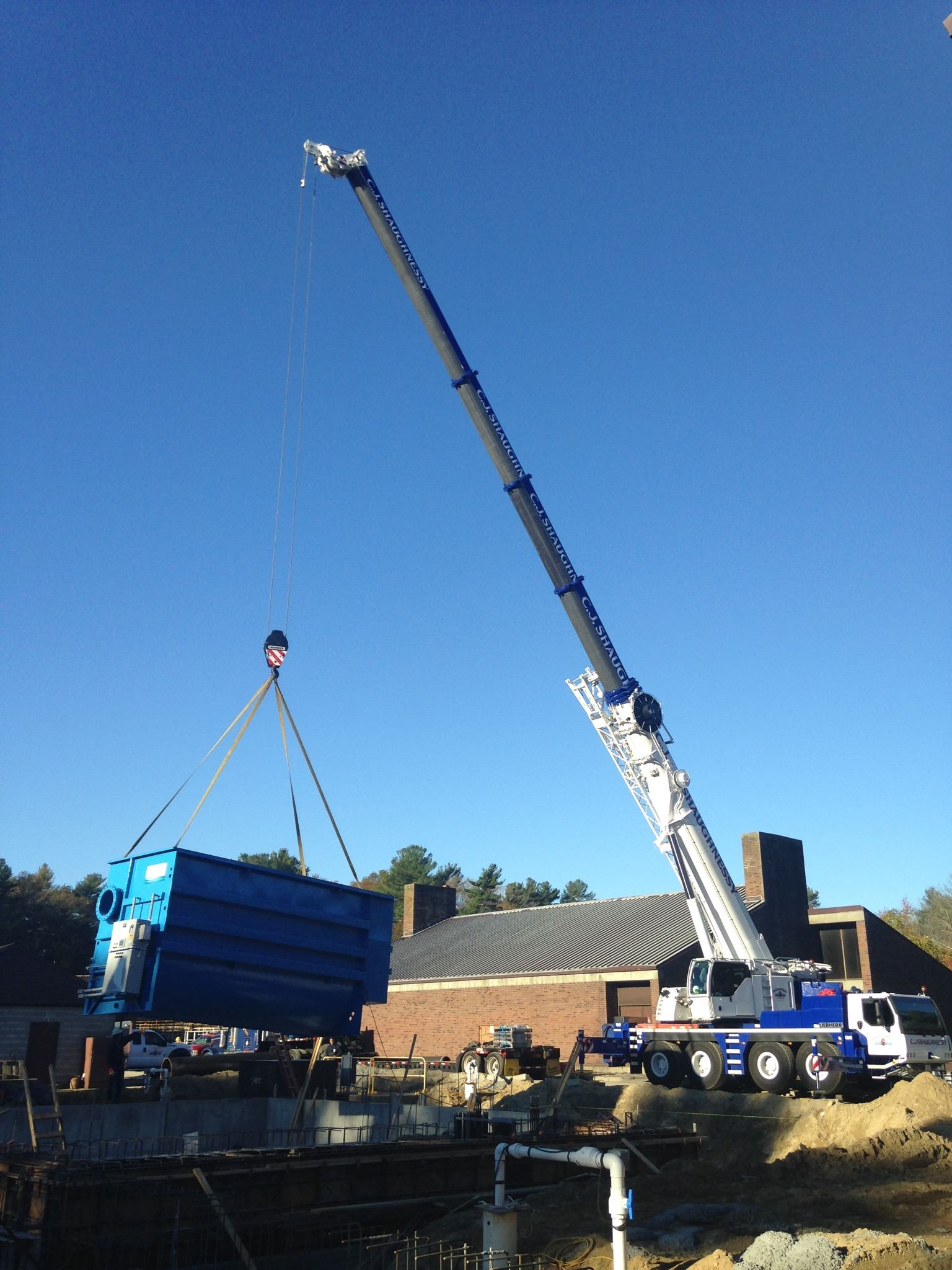 Crane Lifting a Large Crate