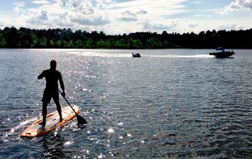 paddle boarding on Tispaquin Pond